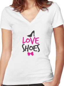 LOVE SHOES with funky fashion black shoes and a bow Women's Fitted V-Neck T-Shirt