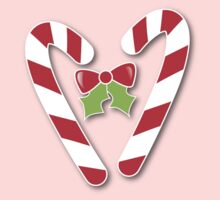CANDY CANES with bow and cute holly Christmas One Piece - Long Sleeve