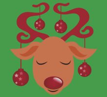 Cute red nosed reindeer with red nose Kids Tee