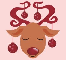 Cute red nosed reindeer with red nose Kids Clothes