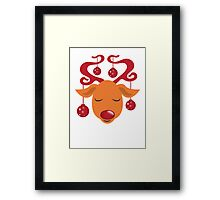 Cute red nosed reindeer with red nose Framed Print