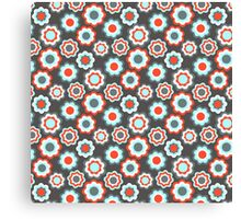Red teal gray vintage retro girly pattern Canvas Print