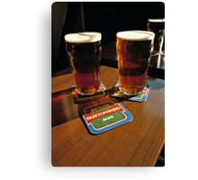 Two pints of beer, UK, 1980s Canvas Print
