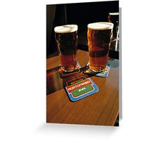 Two pints of beer, UK, 1980s Greeting Card
