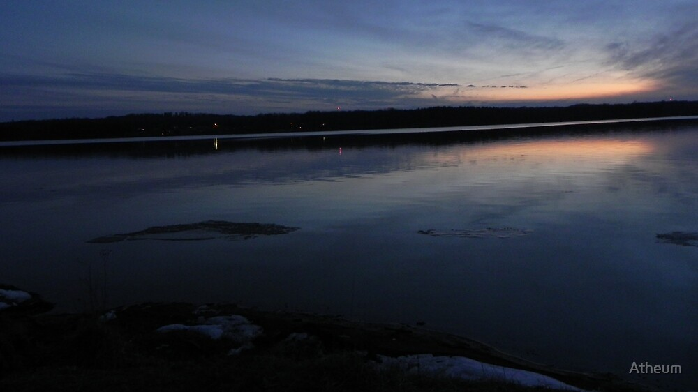 A Sunset Ice-Melt on Clear Fork Reservoir by Atheum