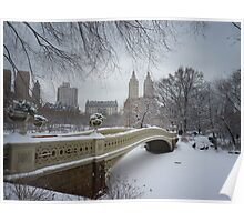 Bow Bridge Central Park in Winter Poster