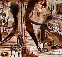 she listened, he played, they lived in different rooms. by Loui  Jover