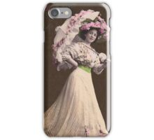 Vintage lady with parasol. iPhone Case/Skin