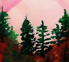 Sunrise Over the Pines, watercolor by Anna  Lewis, blind artist