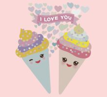 I love you Kawaii Ice cream waffle cone Baby Tee