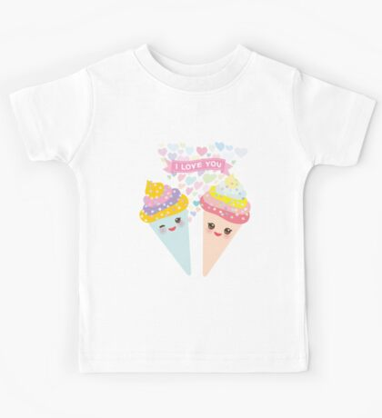 I love you Kawaii Ice cream waffle cone Kids Tee