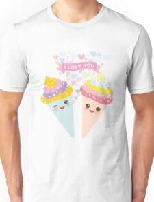I love you Kawaii Ice cream waffle cone Unisex T-Shirt