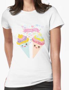 I love you Kawaii Ice cream waffle cone Womens Fitted T-Shirt