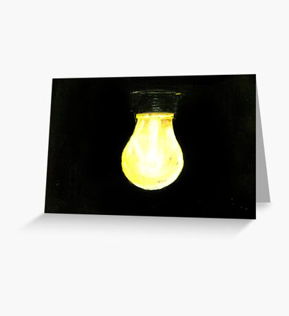 Light Bulb Photo Realistic Painting Greeting Card
