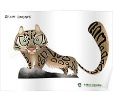 Snow Leopard Caricature Poster