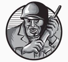 World War Two Soldier American Calling Radio Circle Etching by patrimonio