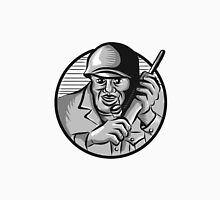 World War Two Soldier American Calling Radio Circle Etching Unisex T-Shirt