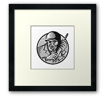 World War Two Soldier American Calling Radio Circle Etching Framed Print