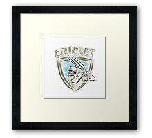 Cricket Player Batsman Batting Shield Etching Framed Print