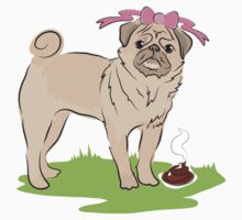 Pink Puggy Pug Dog girl with cute little bow One Piece - Short Sleeve