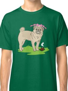 Pink Puggy Pug Dog girl with cute little bow Classic T-Shirt