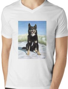 German Shepherd Mix Mens V-Neck T-Shirt