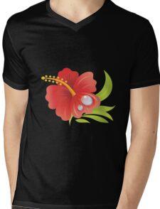 Hibiscus Flower Mens V-Neck T-Shirt