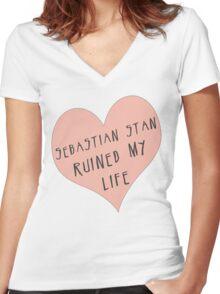 Sebastian Stan ruined my life Women's Fitted V-Neck T-Shirt
