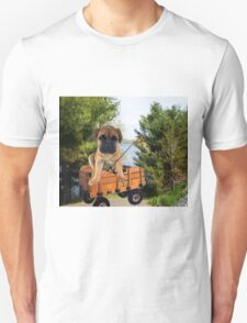 AW LOOKI THERE I CAUGHT A BITE..CUTE PUG CANINE GOES FISHING ..PICTURE...PILLOW...TOTE BAG...ECT... Unisex T-Shirt