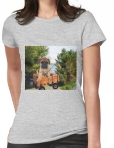 AW LOOKI THERE I CAUGHT A BITE..CUTE PUG CANINE GOES FISHING ..PICTURE...PILLOW...TOTE BAG...ECT... Womens Fitted T-Shirt