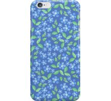 Pretty Ditsy Blue Green Periwinkle Flowers iPhone Case/Skin