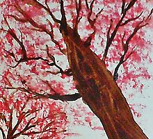 Looking Up Thru Blooming Tree, watercolor by Anna  Lewis