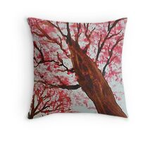 Looking Up Thru Blooming Tree, watercolor Throw Pillow