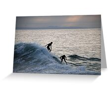 Surfers at Sunset - Laguna Beach, California Greeting Card