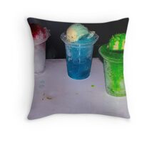 Color Full Ice Slush with Ice Cream on Top Throw Pillow