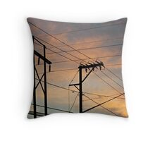 Sunset Power Lines Throw Pillow