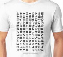 Font Awesome Black on White Unisex T-Shirt