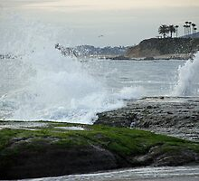 Waves Hitting Rocks - Laguna Beach, California by Phil Roberson