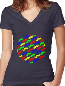 Funny girly colorful patterns mustaches geek funny nerd Women's Fitted V-Neck T-Shirt