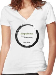 Zen Happiness Quote Women's Fitted V-Neck T-Shirt