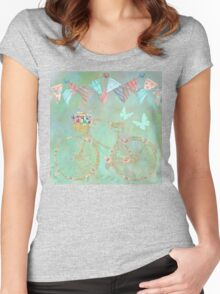 Magical Bicycle Tour enchanted, whimsical art Women's Fitted Scoop T-Shirt