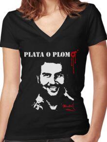 "Pablo Escobar ""Plata o Plomo"" Women's Fitted V-Neck T-Shirt"