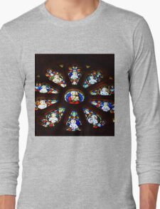 Circular Stained Glass Window At St Michaels Mount Church,Cornwall  Long Sleeve T-Shirt