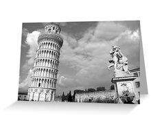 Tower & Statue - Pisa, Italy Greeting Card