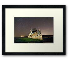 Star trails over Point Reyes reck Framed Print