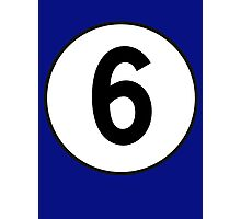 6, Sixth, Number Six, Number 6, Racing, Six, Competition, on Navy Blue Photographic Print