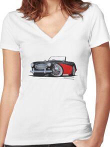 Austin-Healey 3000 Black/Red Women's Fitted V-Neck T-Shirt