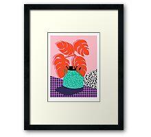 Mung - throwback retro 80s style neon art print pink hipster decor trendy grid urban brooklyn house plant Framed Print