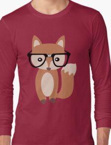 Hipster baby fox w glasses geek funny nerd Long Sleeve T-Shirt