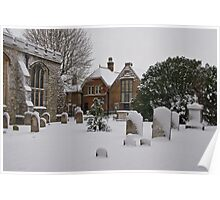 Church yard in snow Poster